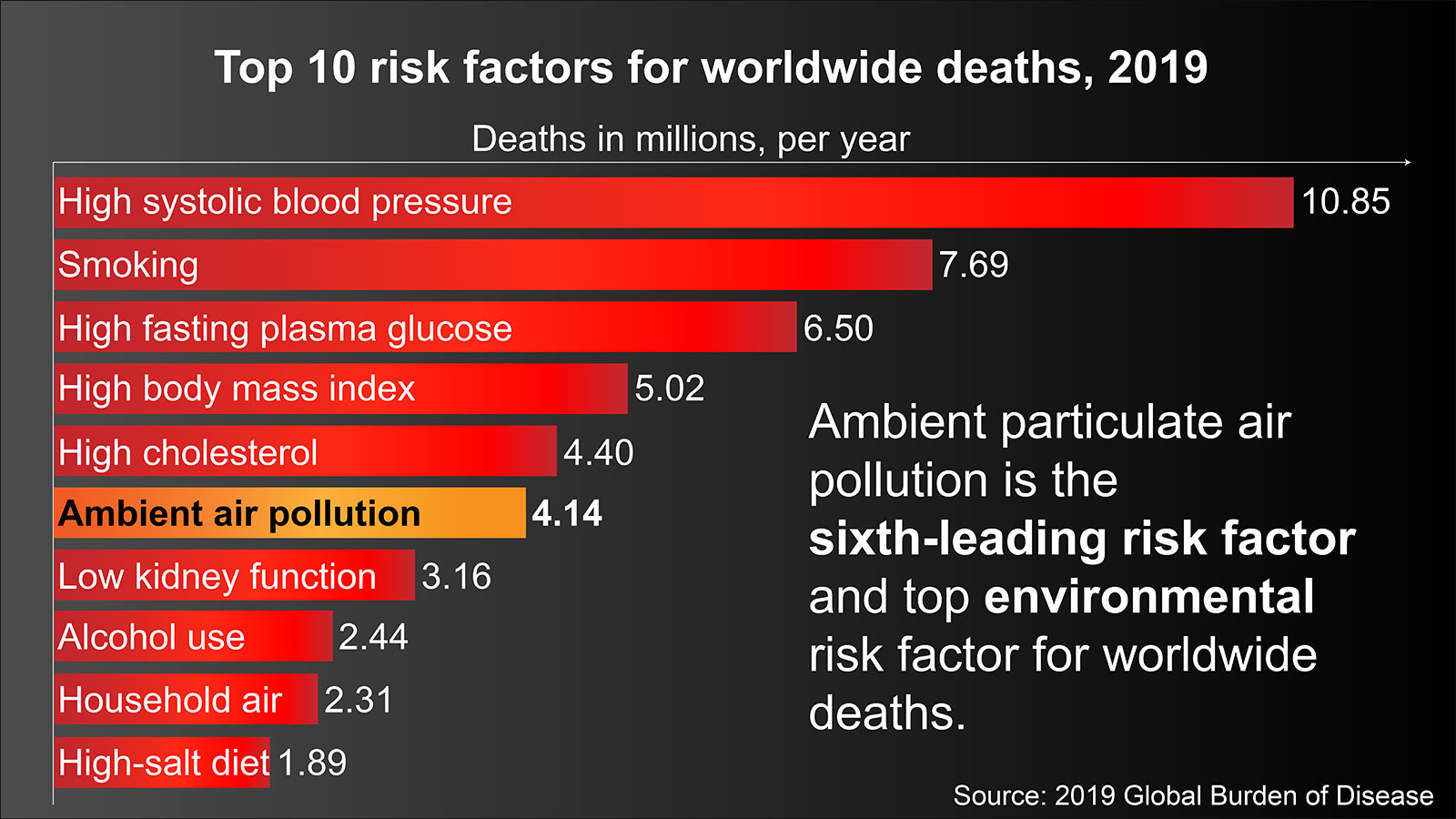 Top 10 risk factors for premature death, 2016